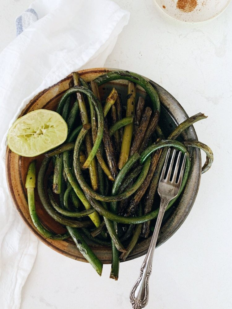 Sautéed Garlic Scapes with squeezed lime