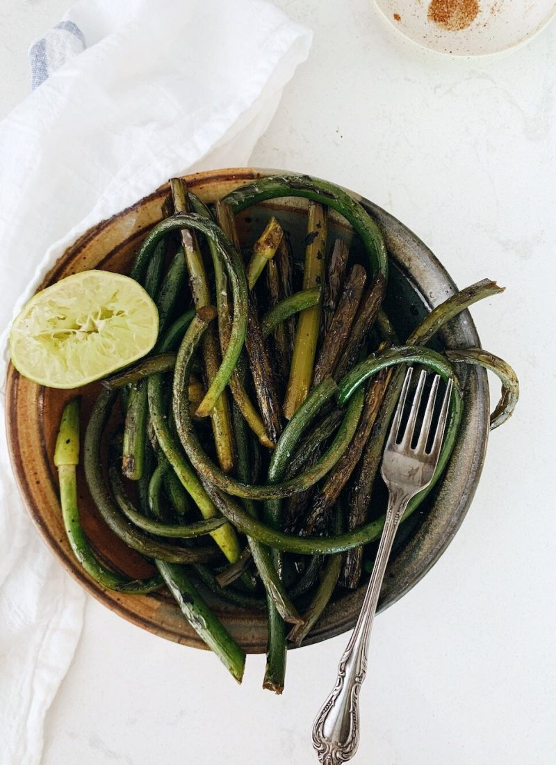 Sautéed Garlic Scapes with Smoked Sea Salt and Lime