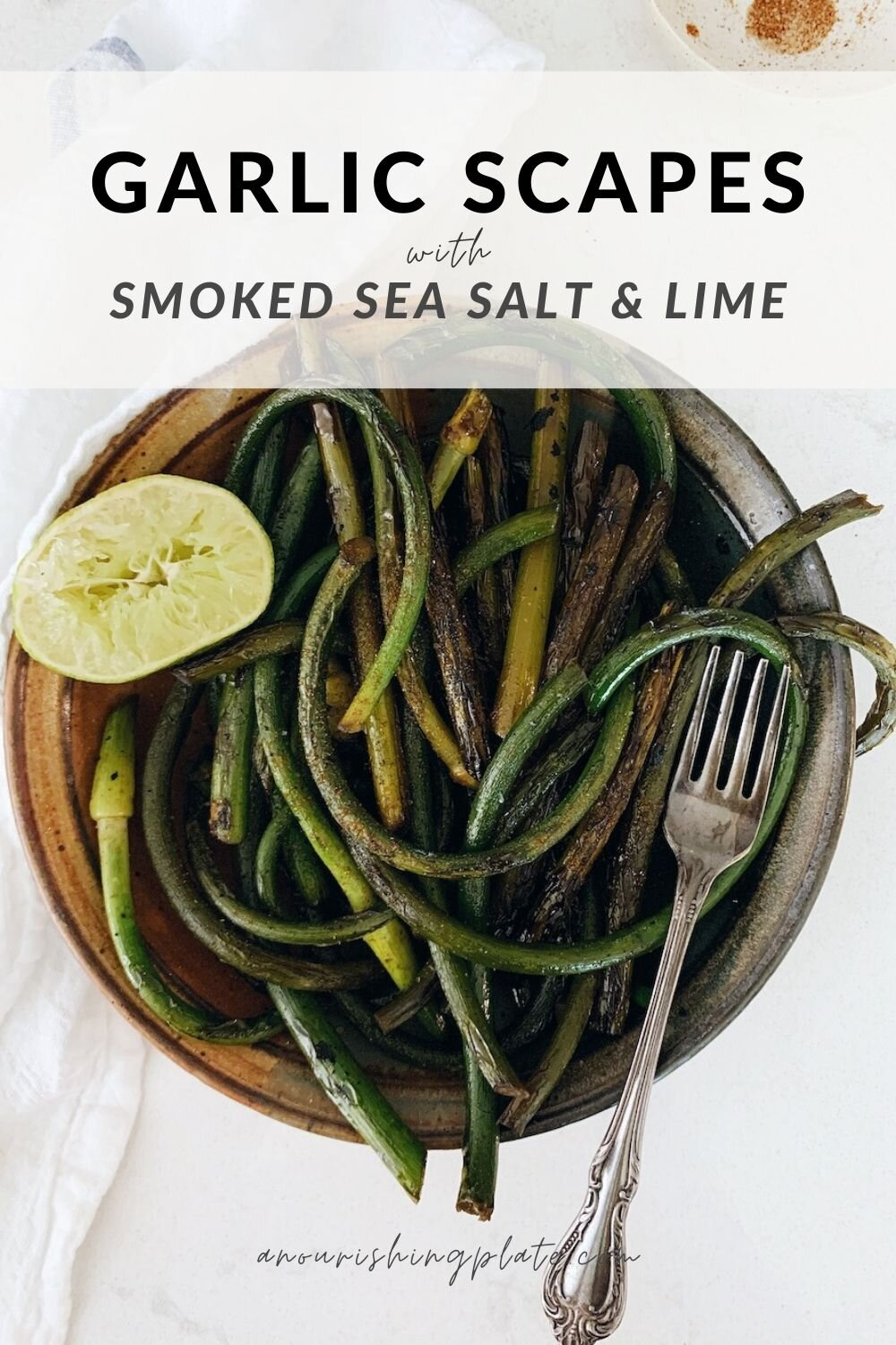 bowl of sauteed garlic scapes