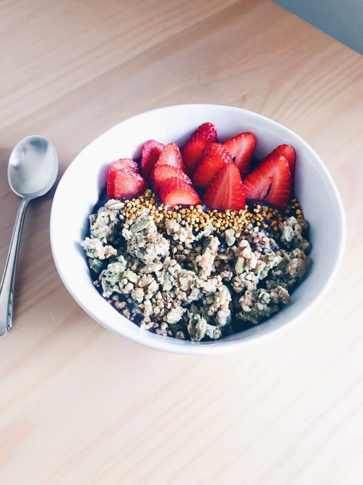 Bowl of Granola with Strawberries