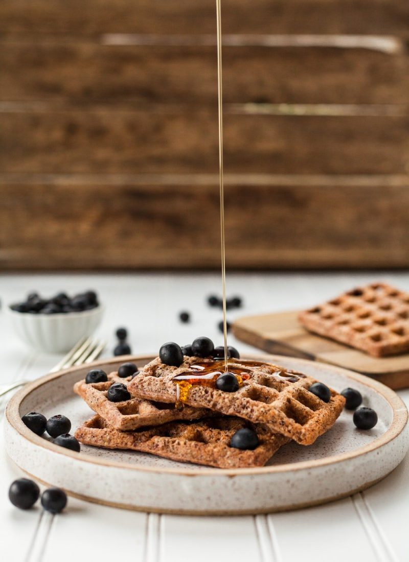 Waffles with Maple Syrup and Berries
