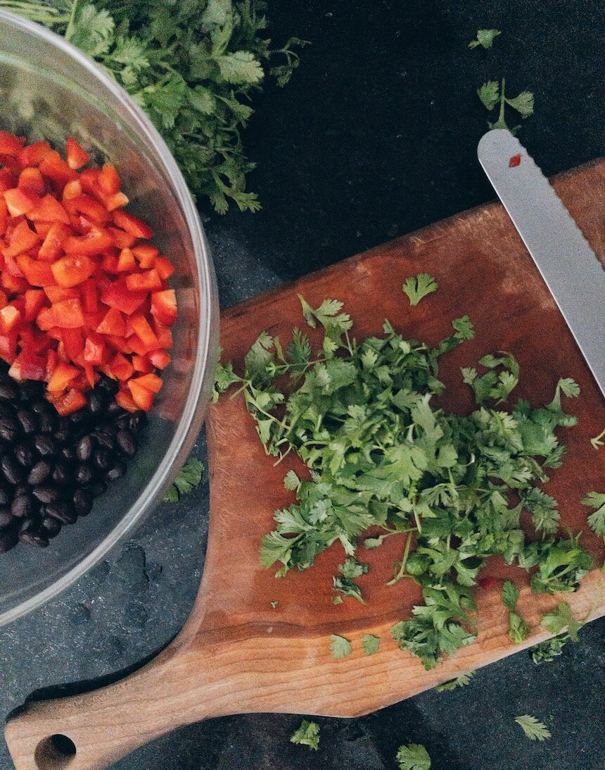 Chopped Herbs and Vegetables