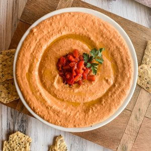 Red Pepper Hummus with Chips