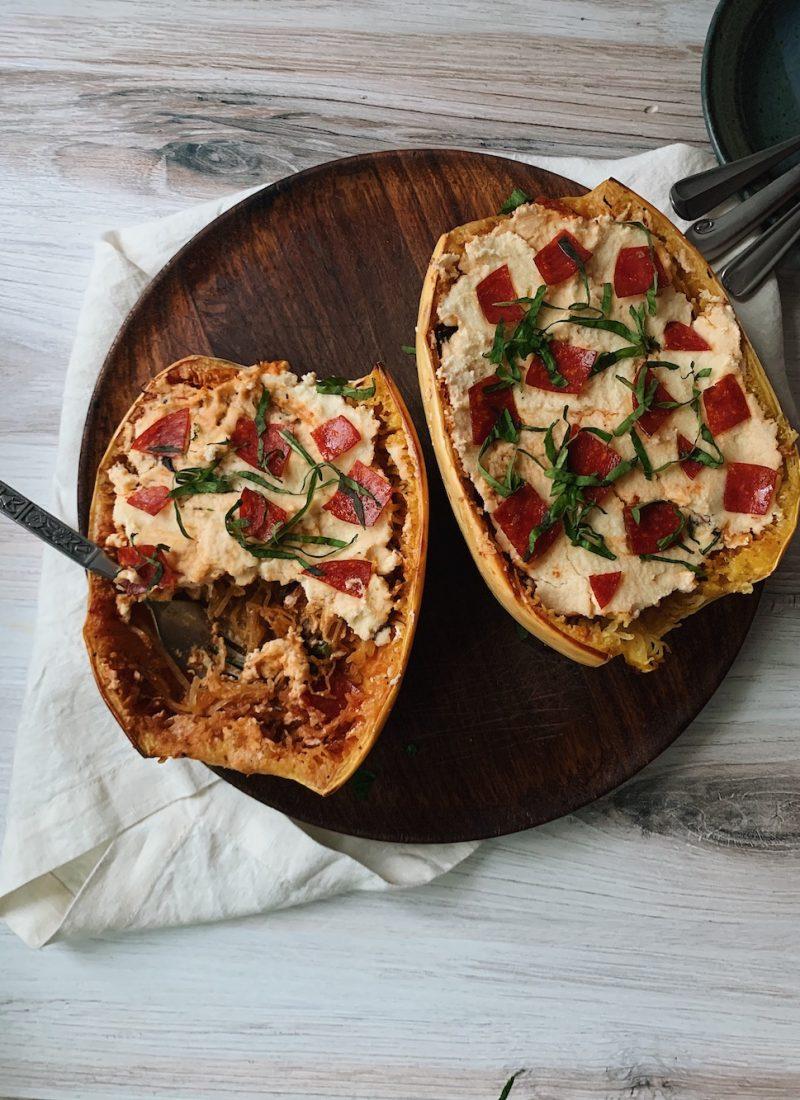 Spaghetti Squash Pizza Boats (Dairy-free + Gluten-free)
