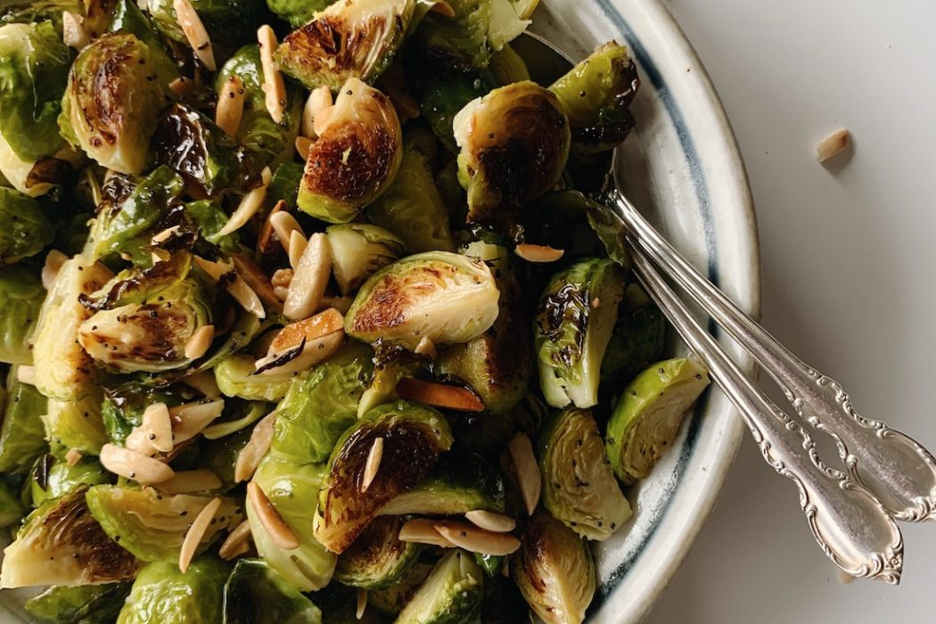 Roasted Brussels Sprouts Salad with Toasted Almonds & Poppyseed Vinaigrette
