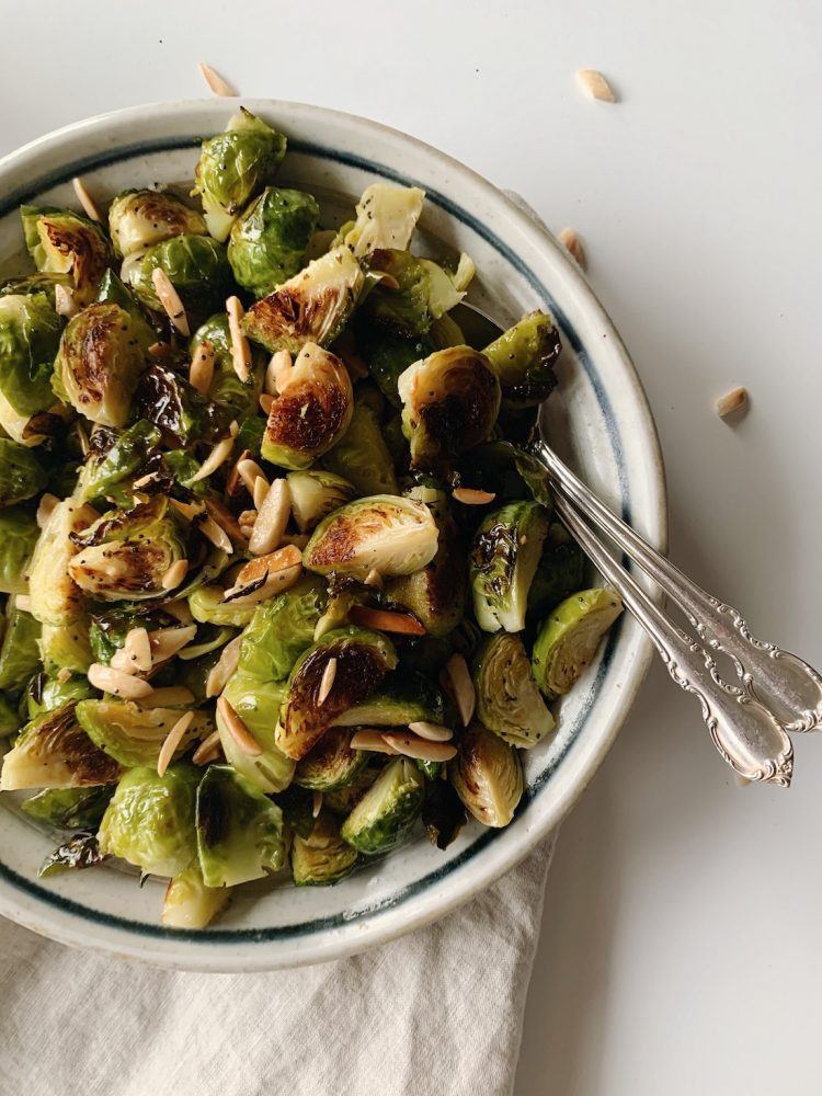 Plate with Brussels sprouts salad
