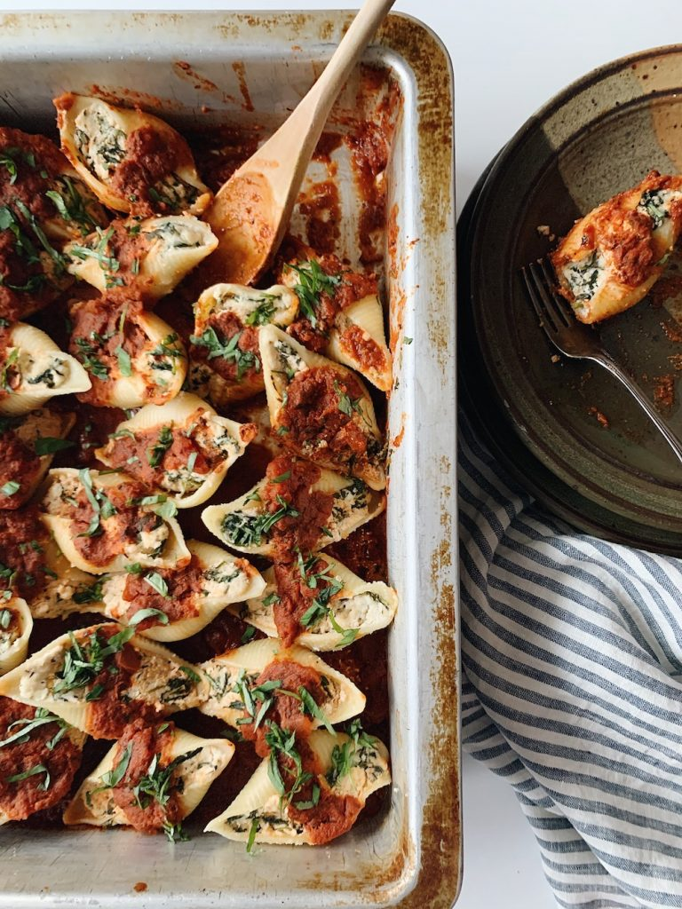 pan of ricotta stuffed shells