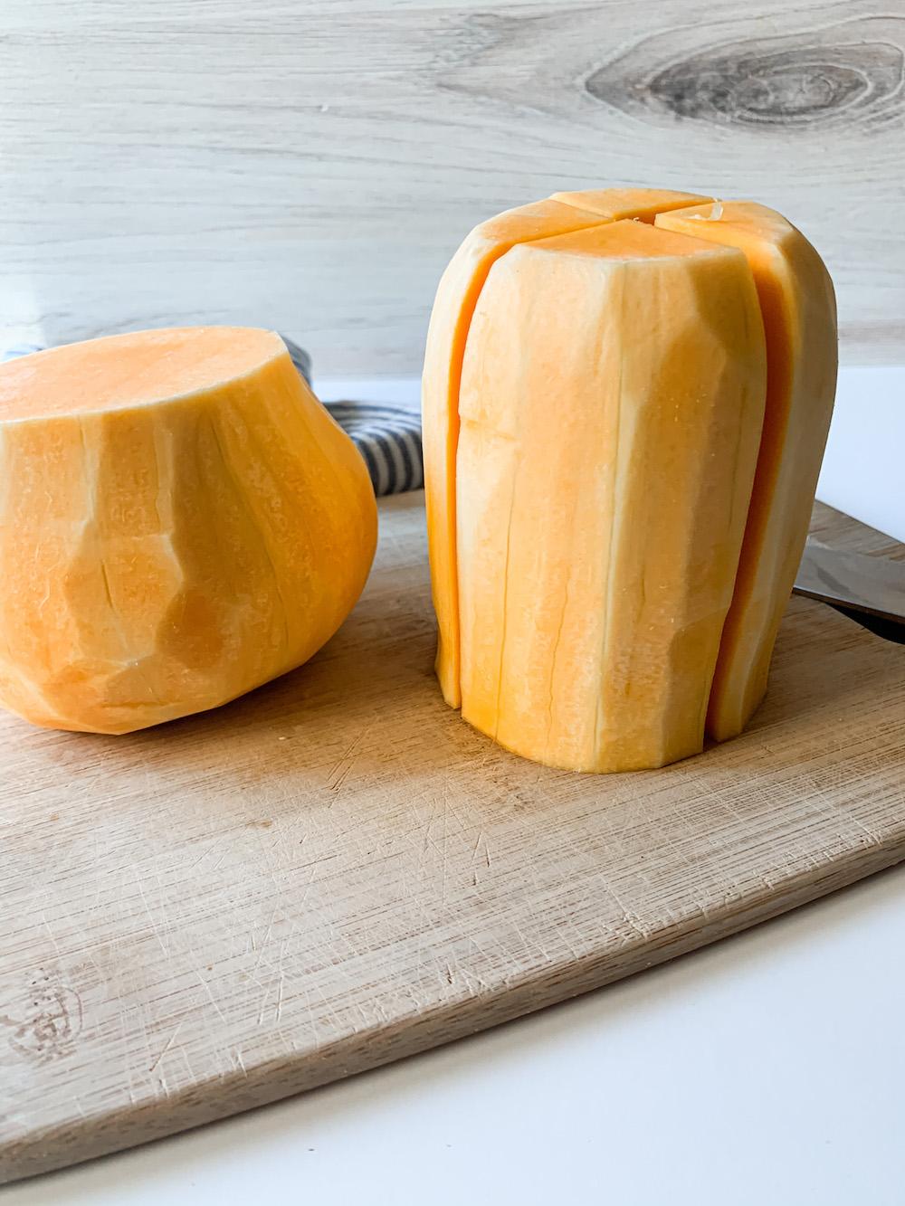 Sliced butternut squash halves