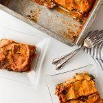 Two servings of dairy-free lasagna