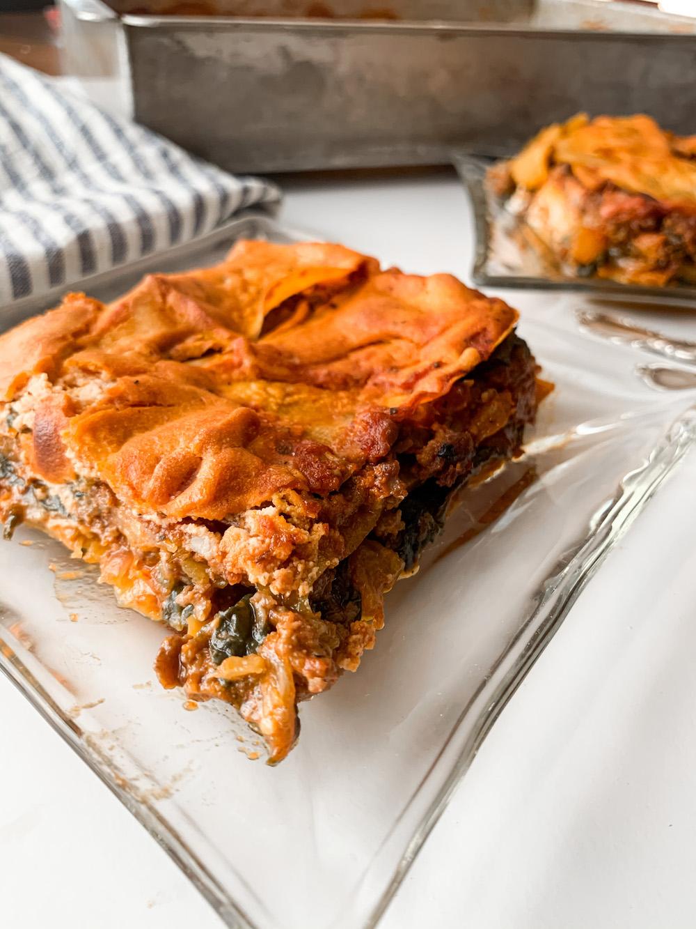 Plate of dairy-free lasagna