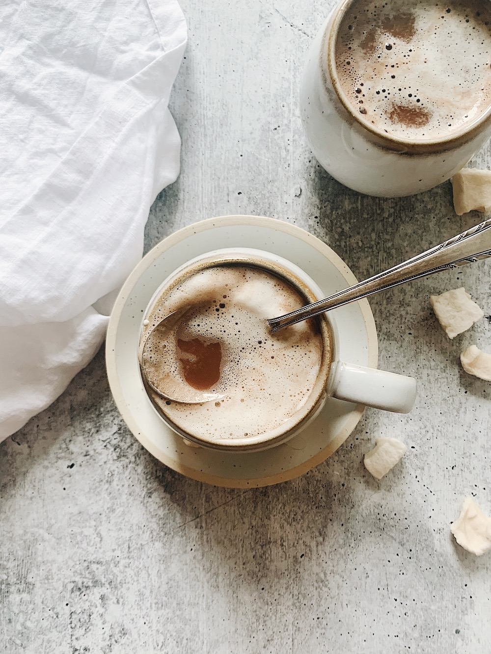 cups of dairy-free hot chocolate with marshmallows