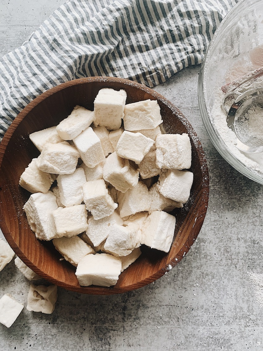 Bowl of homemade marshmallows