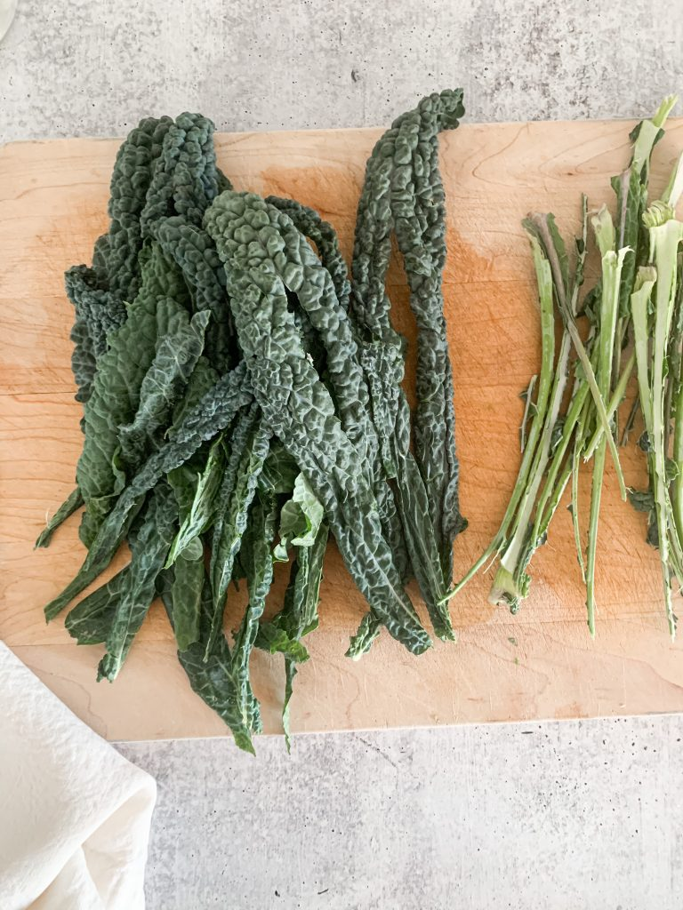 kale with the stems removed