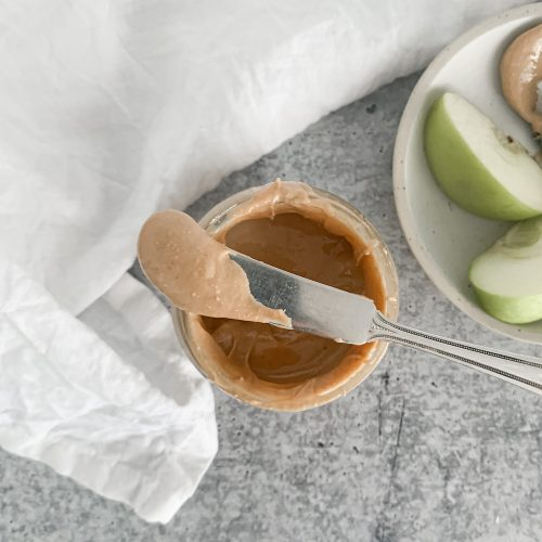 homemade cashew butter on knife