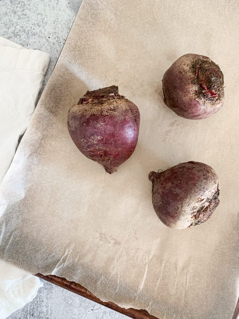 raw beets about to get roasted