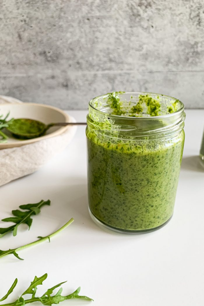 Easy Arugula Pesto (Dairy-Free, Nut-Free Option)
