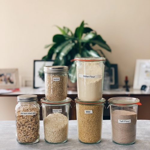 jars of gluten-free grains