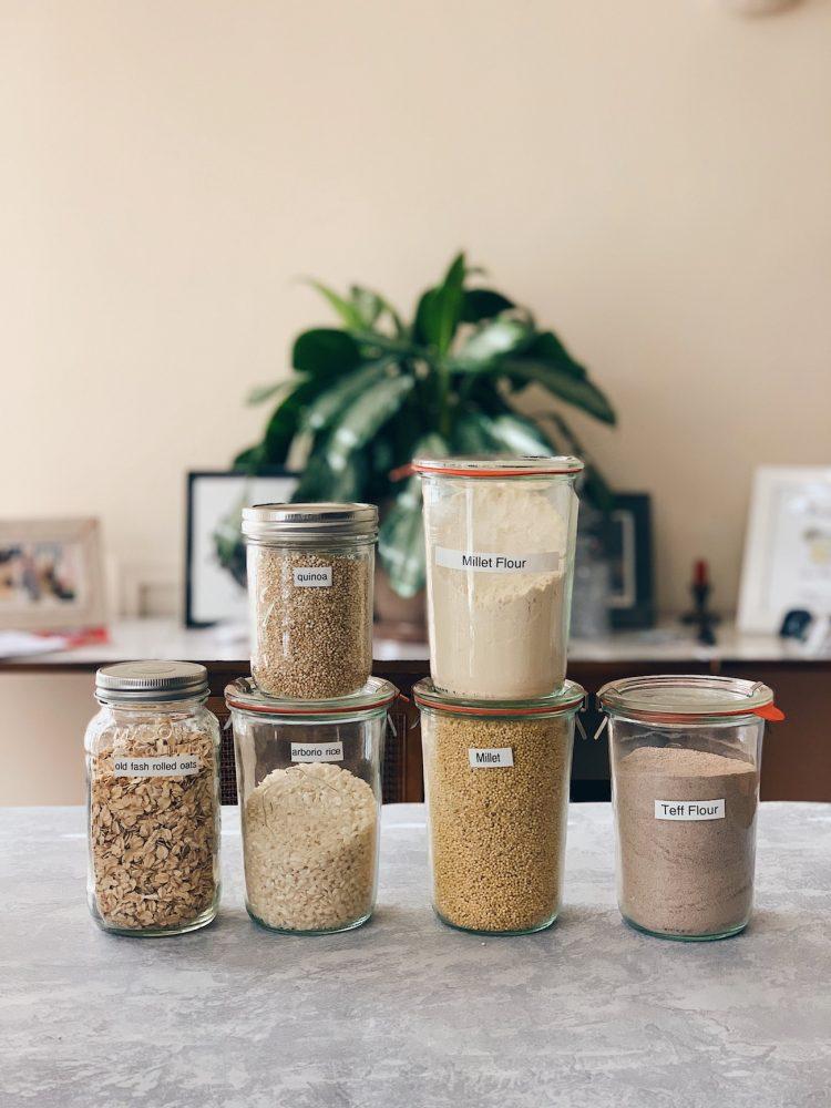 jars of gluten-free grains