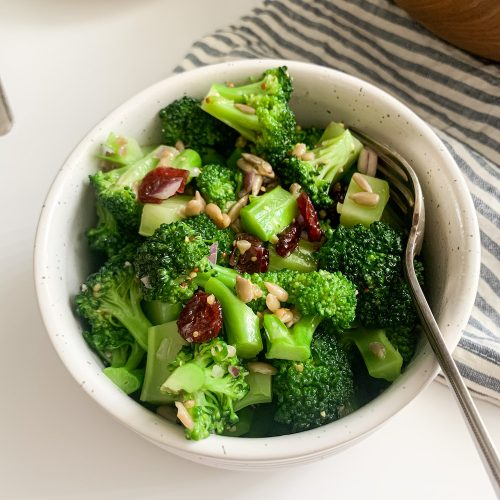 a serving of healthy broccoli salad