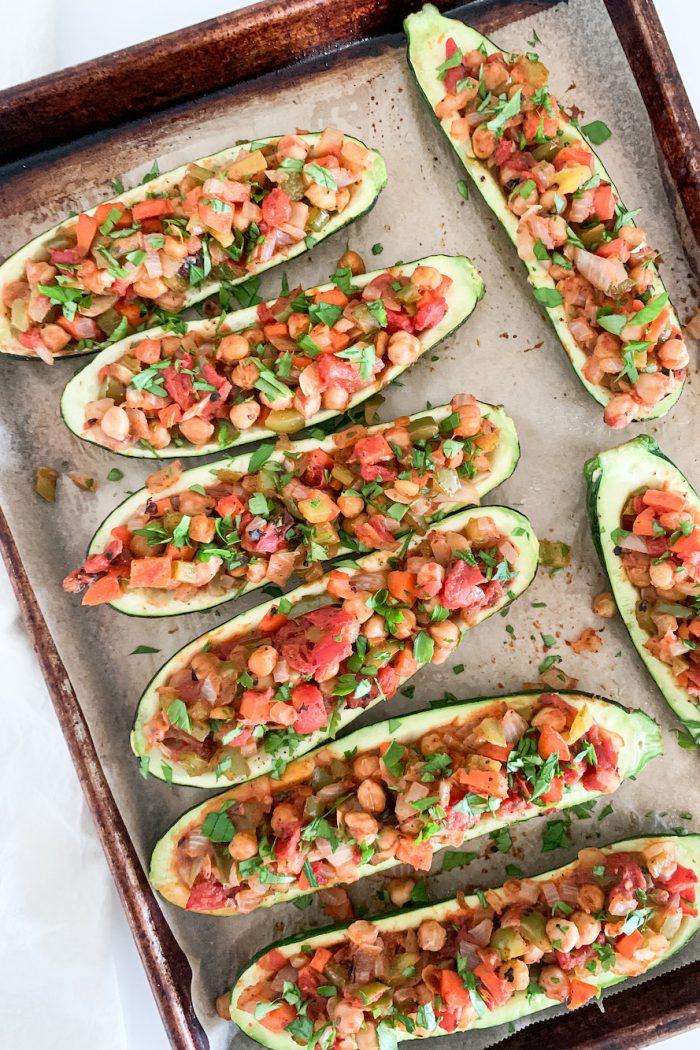 Greek Stuffed Zucchini Boats (Gluten-Free, Vegan)
