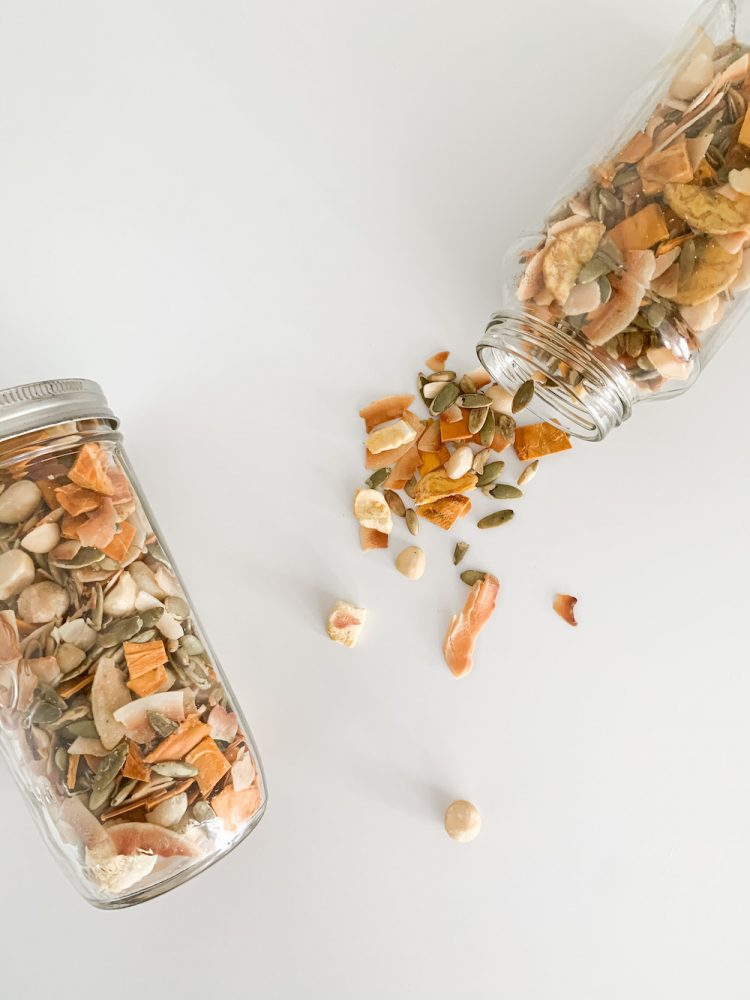 two glass jars of homemade trail mix