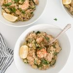 two servings of miso butter zucchini risotto