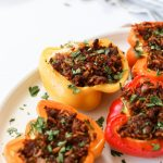 dairy-free stuffed peppers on a serving platter