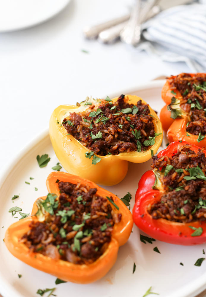 Dairy-Free Red Pesto Stuffed Peppers
