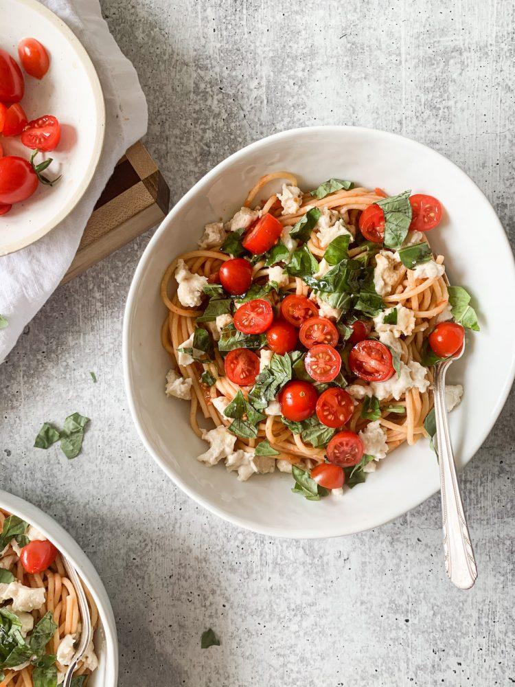 large bowl of Margherita pasta