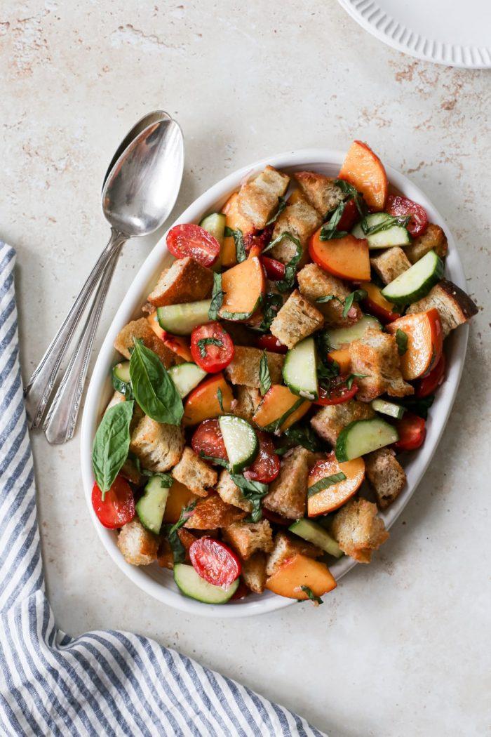 Summery Peach Panzanella Salad