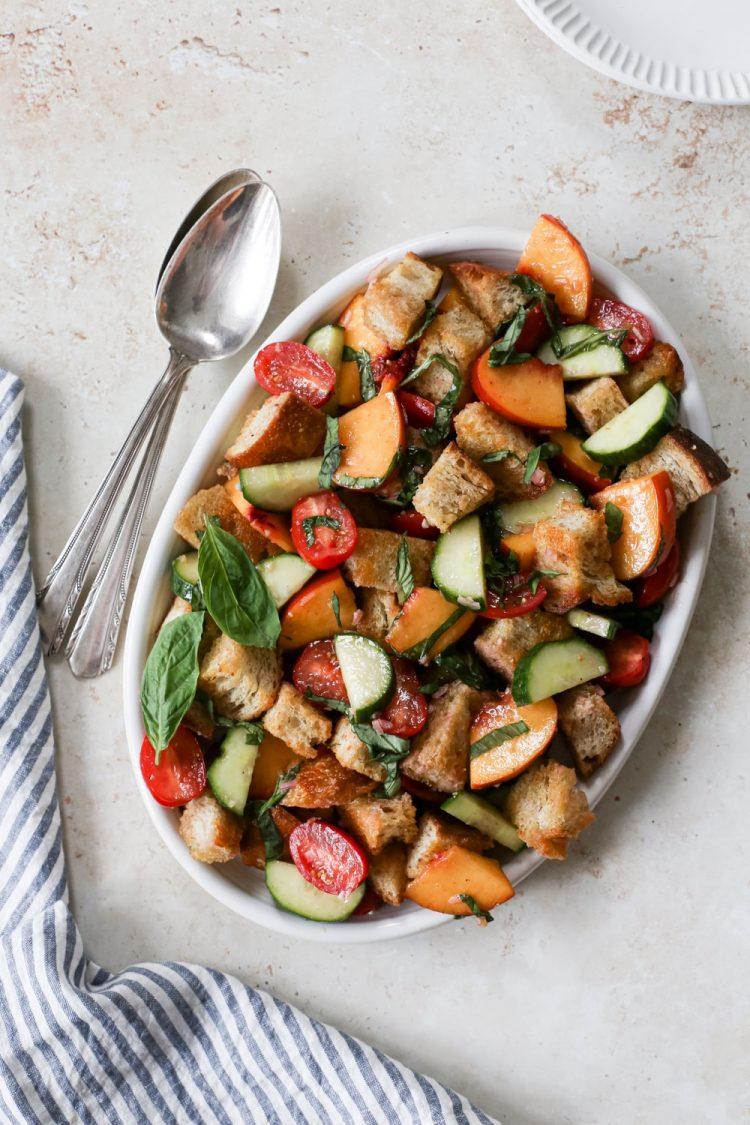 platter of summery peach Panzanella salad