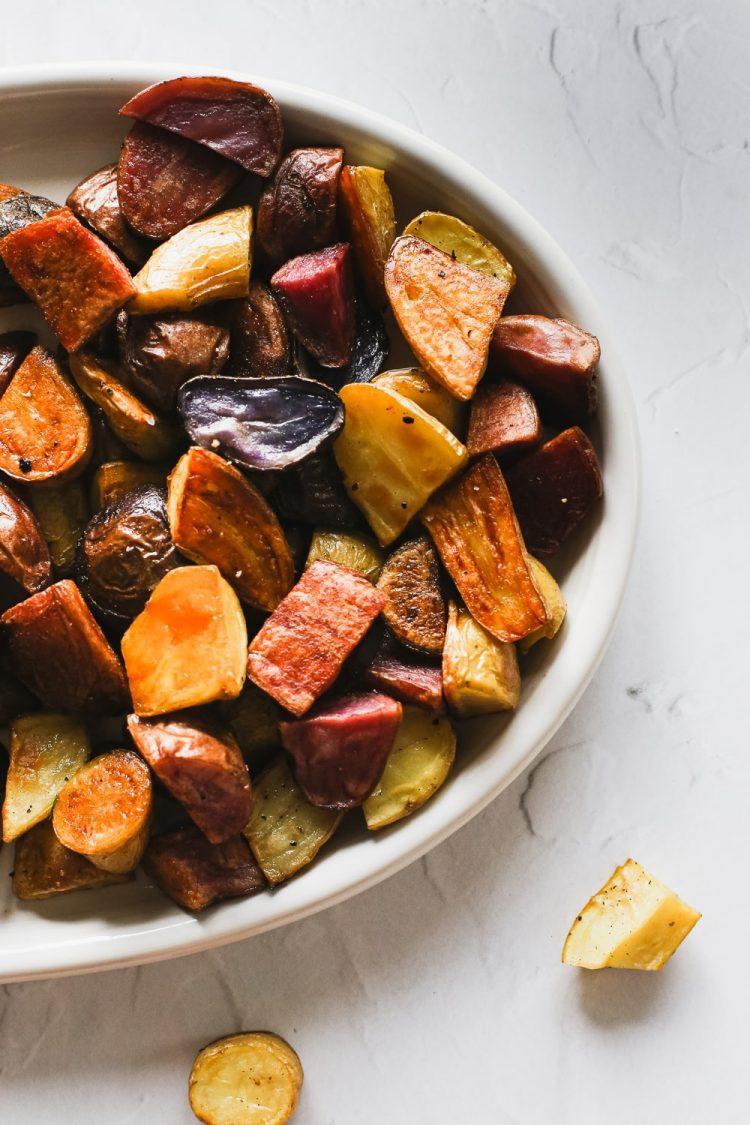 up close shot of roasted rainbow fingerling potatoes