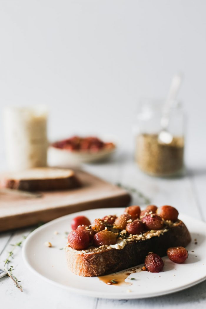 Ricotta Toast With Roasted Grapes